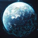 Wiedergabe 3D Netz und Datenaustausch über Planetenerde im Raum Verbindungslinien um Erdkugel global Stockfotos