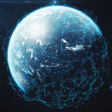 Wiedergabe 3D Netz und Datenaustausch über Planetenerde im Raum Verbindungslinien um Erdkugel global Lizenzfreies Stockbild