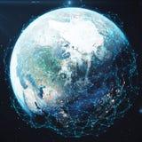Wiedergabe 3D Netz und Datenaustausch über Planetenerde im Raum Verbindungslinien um Erdkugel global Stockbild