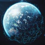 Wiedergabe 3D Netz und Datenaustausch über Planetenerde im Raum Verbindungslinien um Erdkugel global Stockfotografie