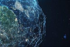 Wiedergabe 3D Netz und Datenaustausch über Planetenerde im Raum Verbindungslinien um Erdkugel global Lizenzfreies Stockfoto