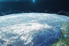 Wiedergabe 3D Netz und Datenaustausch über Planetenerde im Raum Verbindungslinien um Erdkugel global Lizenzfreie Stockbilder