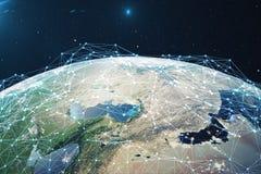 Wiedergabe 3D Netz und Datenaustausch über Planetenerde im Raum Verbindungslinien um Erdkugel global Stockfoto