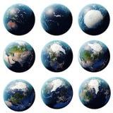 Wiedergabe 3D Planeten-Erdsatz, Kugel von den verschiedenen Winkeln, stellte Erde auf weißem Hintergrund für Ihr Design ein Stockbild
