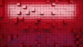 Wiedergabe 3d Rote verdrängte Würfel entziehen Sie Hintergrund regelkreis stock footage