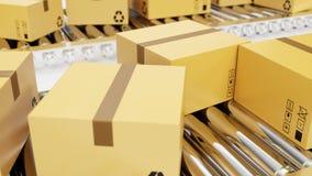 Wiedergabe 3D verpackt Lieferung, Packdienst und teilt Verkehrssystemkonzept, Pappschachteln auf Förderer ein Lizenzfreies Stockbild
