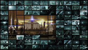 Wiedergabe 3d Videowand mit futuristischer alter Stadt Stockfotos