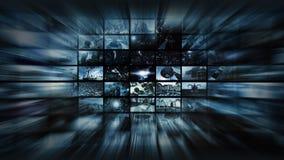 Wiedergabe 3d Videowand in Raumverzerrung Stockfotos