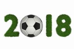 Wiedergabe 3D vom Datum 2018 mit Gras und einem Fußball lizenzfreie abbildung
