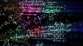 Wiedergabe 3D von abstrakten Blöcken von den mathematischen Formeln gelegen im virtuellen Raum stockfoto