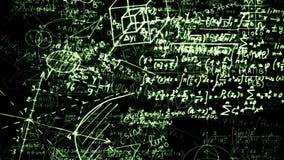 Wiedergabe 3D von abstrakten Blöcken von den mathematischen Formeln gelegen im virtuellen Raum lizenzfreie abbildung