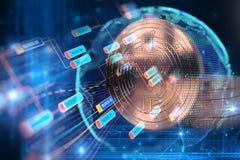 Wiedergabe 3d von Bitcoin auf Technologiehintergrund Stockbild