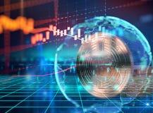 Wiedergabe 3d von Bitcoin auf Technologiehintergrund Stockfotos