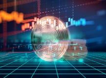 Wiedergabe 3d von Bitcoin auf Technologiehintergrund Stockfoto