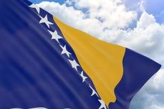 Wiedergabe 3D von Bosnien und Herzegowina fahnenschwenkend auf blauem Himmel Stockfotos