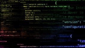 Wiedergabe 3D von den abstrakten Blöcken des Codes gelegen im virtuellen Raum Vektor Abbildung