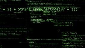 Wiedergabe 3D von den abstrakten Blöcken des Codes gelegen im virtuellen Raum Lizenzfreie Abbildung