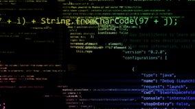 Wiedergabe 3D von den abstrakten Blöcken des Codes gelegen im virtuellen Raum Stock Abbildung