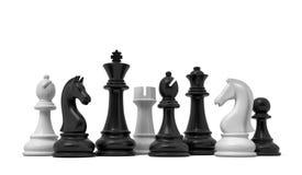 Wiedergabe 3d von den weißen und schwarzen Schachfiguren, die zusammen auf einem weißen Hintergrund lokalisiert stehen lizenzfreie abbildung