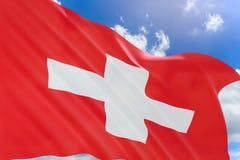 Wiedergabe 3D von der Schweiz fahnenschwenkend auf Hintergrund des blauen Himmels Stockbild