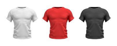 Wiedergabe 3d von drei männlichen T-Shirts in der Vorderansicht des realistischen muskulösen Torsos in den weißen, roten und schw Stockbild