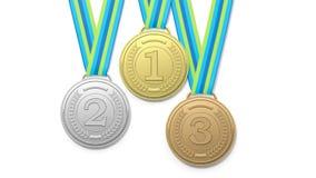 Wiedergabe 3D von drei prize Medaillen auf weißem Hintergrund Stockfotos