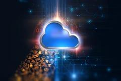 Wiedergabe 3d von Ikone Computing-System der Wolke auf Technologie-BAC Lizenzfreies Stockbild