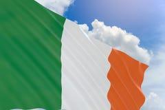Wiedergabe 3D von Irland fahnenschwenkend auf Hintergrund des blauen Himmels Stockbild