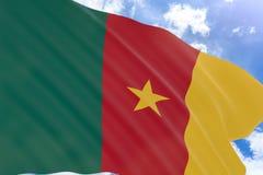 Wiedergabe 3D von Kamerun fahnenschwenkend auf Hintergrund des blauen Himmels Stockbilder