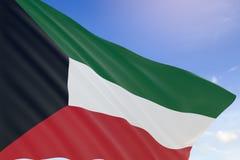 Wiedergabe 3D von Kuwait fahnenschwenkend auf Hintergrund des blauen Himmels Lizenzfreie Stockfotografie