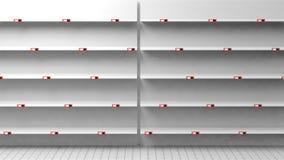 Wiedergabe 3D von leeren Regalen im Shop Stockfotografie