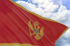 Wiedergabe 3D von Montenegro fahnenschwenkend auf Hintergrund des blauen Himmels Stockfoto