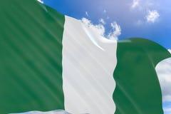 Wiedergabe 3D von Nigeria fahnenschwenkend auf Hintergrund des blauen Himmels Lizenzfreie Stockfotos
