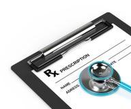 Wiedergabe 3d von rx Verordnung und Stethoskop über Weiß stock abbildung