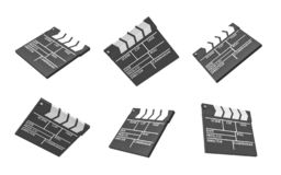 Wiedergabe 3d von sechs schwarzen Film clapperboards mit Leerzeilen für den Titel und von Schöpfern eines Films stock abbildung