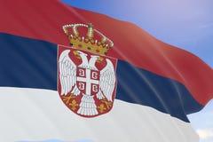 Wiedergabe 3D von Serbien fahnenschwenkend auf Hintergrund des blauen Himmels Lizenzfreies Stockbild