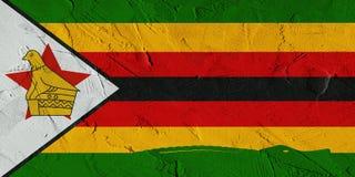 Wiedergabe 3D von Simbabwe-Flagge mit Krokodil auf afrikanischer Wand Stockfotos