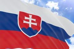 Wiedergabe 3D von Slowakei fahnenschwenkend auf Hintergrund des blauen Himmels Stockbilder
