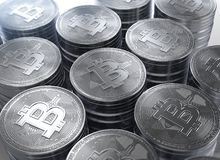 Wiedergabe 3d von Stapeln neuen cryptocurrency Bitcoins vektor abbildung