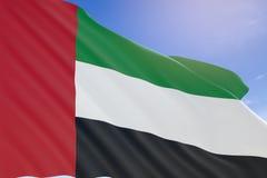 Wiedergabe 3D von UAE fahnenschwenkend auf Hintergrund des blauen Himmels Stockfotos
