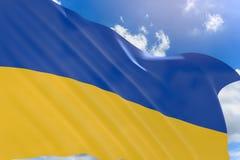 Wiedergabe 3D von Ukraine fahnenschwenkend auf Hintergrund des blauen Himmels Stockfoto