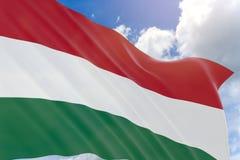 Wiedergabe 3D von Ungarn fahnenschwenkend auf Hintergrund des blauen Himmels Lizenzfreie Stockfotografie