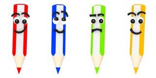 Wiedergabe 3D von vier lustigen farbigen Bleistiften Lizenzfreies Stockbild