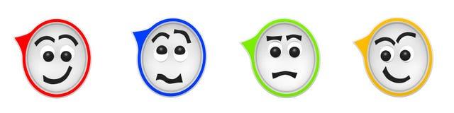 Wiedergabe 3D von vier lustigen Spracheblasen Stockfoto