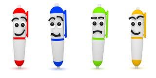 Wiedergabe 3D von vier lustigen Stiften auf Weiß Stockbild