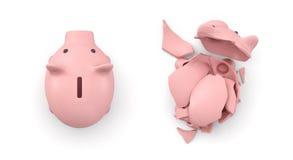 Wiedergabe 3d von zwei lokalisierte Sparschweine in der Draufsicht, in denen man intakt ist und anders defekt ist Lizenzfreie Stockfotos