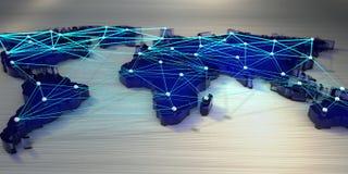 Wiedergabe 3d Weltkarte angeschlossen durch ein Netz von Strahlen lizenzfreie abbildung