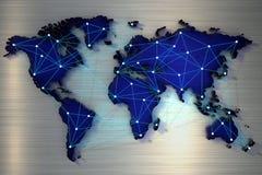 Wiedergabe 3d Weltkarte angeschlossen durch ein Netz von Strahlen stock abbildung