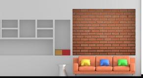 Wiedergabe 3d Wohnzimmer mit Sofa haben Kissen Lizenzfreie Stockbilder