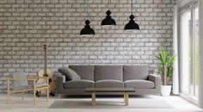 Wiedergabe 3d Wohnzimmerdachboden und industrielle Art, Backsteinmauer, großer Raum lizenzfreie abbildung